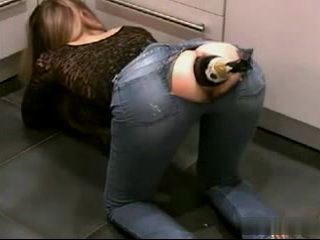 Champagne Bottle Anal Insertion Trough Ripped Off Jeans