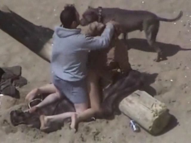 Voyeur Tapes Guy Fucking His Gf On the Beach While His Dog Is Keeping Them Company