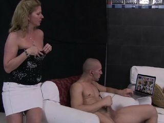 Horny MILF Mommy Caught Stepson Masturbating While Watching Porn