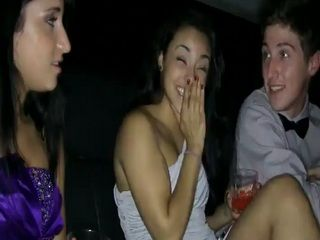 Boozed Hot Babe Devirginized in Limousine While Getting Back From Prom