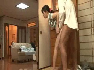 While Her  Husband Sleep Japanese Wife Fucked His Brother