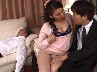 Slutty Housewife Kirishima Ayako Fucks House Guest Beside Her Sleeping Husband