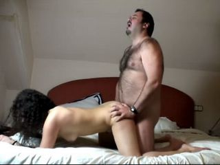 Amateur Curly Brunette Fucked By Sugardaddy In Hotel Room