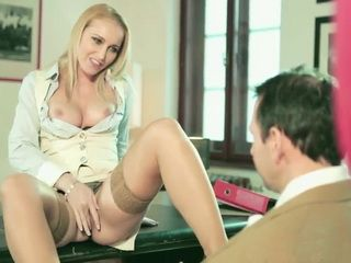 Blonde Milf Kathia Nobili Seducing Colleague Into Sex In The Office