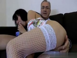 Old Fart Fucks Brunette Chick In Fishnets