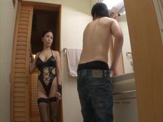 Strange Dressed Mother Miki Sato Attacks Her Son In Bathroom