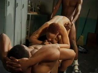 Short Haired Ebony Slut Spitroasted In A 3some