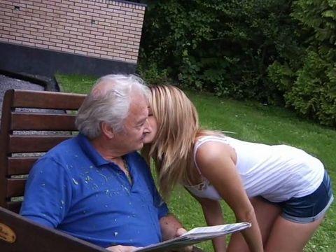 Grandpa Got More Than Just Kiss From Blonde Teen Girl