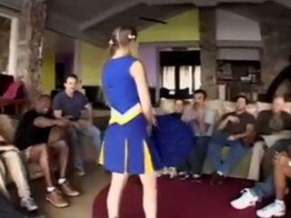 Stunning Teen Cheerleader Gets Gang Bang In The Club