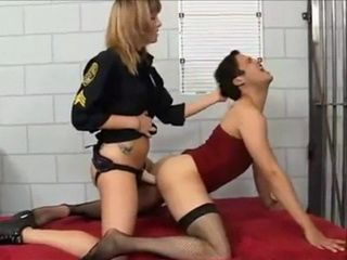 Female Jail Guard Fucks Sissy Bitch Prisoner With Strap On