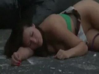 Miserable Girl Left On The Street Naked After A Long Night Passed Another Nightmare